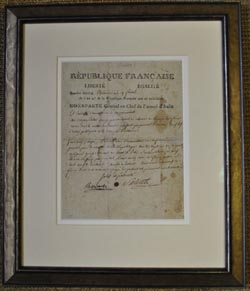 Letter from Napoleon conservation framed
